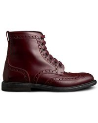 Burberry - Brogue Detail Polished Leather Boots - Lyst
