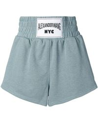 T By Alexander Wang - Logo Label Cotton Sweat Shorts - Lyst