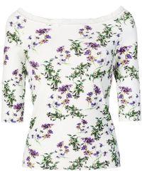 Blumarine - Floral Off Shoulder Top - Lyst