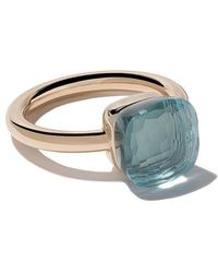 Pomellato - 18kt Rose & White Gold Nudo Light Blue Topaz Ring - Lyst