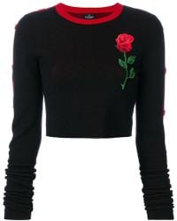 Marcelo Burlon - Cropped Rose Embroidered Sweater - Lyst