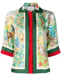 Lyst - Camisa floral con estampado de cadenas Gucci 64221dbe95b