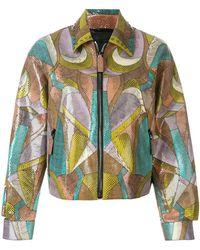 Bottega Veneta - Patchwork Design Zip-front Jacket - Lyst