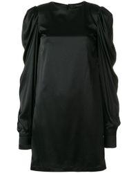 FEDERICA TOSI - Gathered Sleeve Satin Shift Dress - Lyst