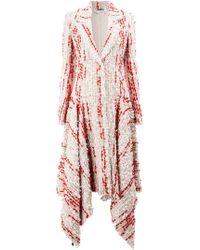Alexander McQueen - Tweed Cocoon Asymmetric Hem Coat - Lyst