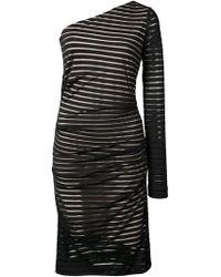 Nicole Miller - Once Shoulder Striped Dress - Lyst