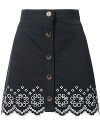 10 Crosby Derek Lam - A-line Mini Skirt With Eyelet Embroidery - Lyst