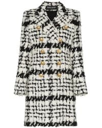 Balmain - Double Breasted Tweed Wool Mohair Alpaca Blend Coat - Lyst
