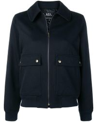 A.P.C. - Bomber con colletto - Lyst