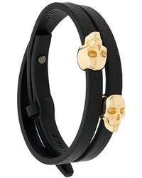 Northskull - Atticus Skull Double Wrap Bracelet - Lyst