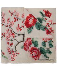 Alexander McQueen - Fular con motivo de flores japonesas - Lyst