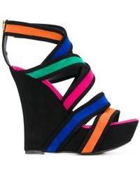 Balmain - Inti Suede Wedge Sandals - Lyst