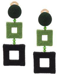 Oscar de la Renta - Wrapped Double Square Clip-on Earrings - Lyst