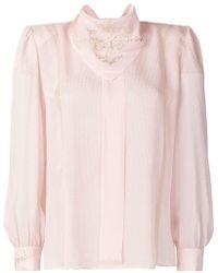 fe18843470c4cf Fendi - Embroidered Long-sleeve Blouse - Lyst
