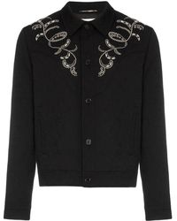 Saint Laurent - Teddy Western Style Embroidered Jacquard Print Denim Jacket - Lyst