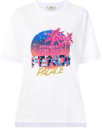 Fendi - Logo Patch T-shirt - Lyst
