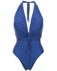 Martha Medeiros - Halterneck Twist Detail Swimsuit - Lyst