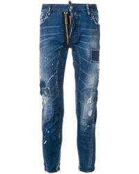 DSquared² - Tider Biker Distressed Jeans - Lyst