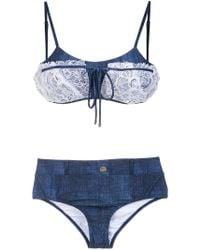 Amir Slama - Lace Applique Denim Bikini Set - Lyst