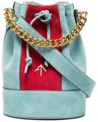 MANU Atelier   Blue And Red Pristine Mini Suede Bucket Bag   Lyst