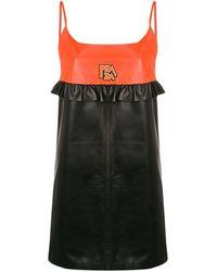 Prada バイカラー レザードレス - ブラック