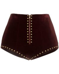 Saint Laurent - High Waist Stud Embellished Velvet Shorts - Lyst