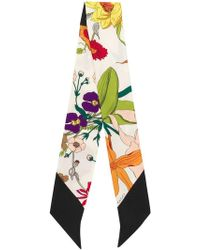 Gucci - Silk Neck Bow With Flora Gothic Print - Lyst