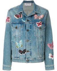 Valentino - Embroidered Butterfly Denim Jacket - Lyst