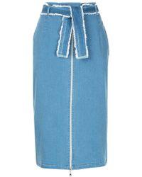 Guild Prime - Zip-detail Midi Denim Skirt - Lyst