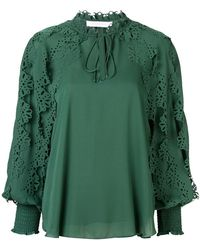 See By Chloé - Laser-cut Floral Blouse - Lyst
