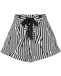 Self-Portrait - Lace Up Front Striped Shorts - Lyst