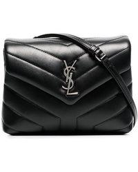 09a7ebaf93 Saint Laurent - Black Monogram Detail Quilted Leather Bag - Lyst