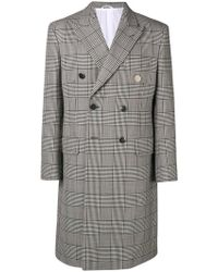 CALVIN KLEIN 205W39NYC - Check Double-breasted Coat - Lyst