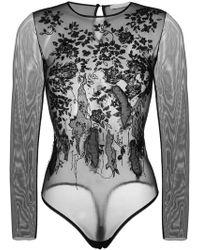 Amen - Embellished Tulle Bodysuit - Lyst