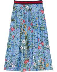 Gucci - New Flora Print Skirt - Lyst