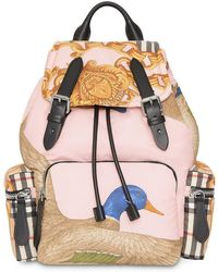 Burberry - Archive-print Backpack - Lyst