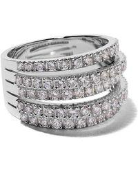 De Beers - 18kt White Gold Five Line Diamond Ring - Lyst