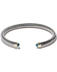 Classiques Câble D'argent Sterling Et Or Jaune 14 Carats Bracelet Manchette Accentués - Métalliques David Yurman FtxrNOy