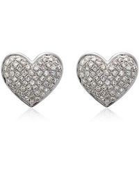 SHAY - 18k White Gold Diamond Heart Stud Earrings - Lyst