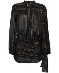 Saint Laurent - Bow Detail Metallic Wrap Silk Mini Dress - Lyst