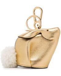 Loewe - Gold Metallic Bunny Leather Shearling Tail Bag Charm - Lyst
