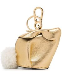 e3272c8d266c Loewe - Metallic Bunny Leather Shearling Tail Bag Charm - Lyst
