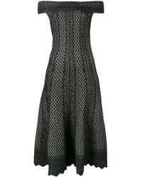 Alexander McQueen | Off-the-shoulder Lace-jacquard Midi Dress | Lyst