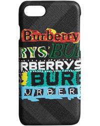 Burberry - Tag Print London Check Iphone 8 Case - Lyst