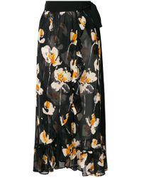 L'Autre Chose - Floral Print Wrap Midi Skirt - Lyst