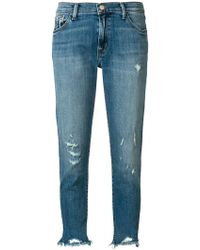 J Brand - Distressed Cropped Jeans - Lyst