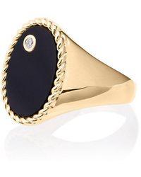 Yvonne Léon - Gold Chevalière Onyx Diamond Ring - Lyst