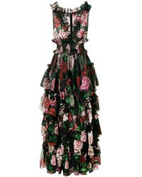 Dolce & Gabbana - Floral Print Evening Dress - Lyst