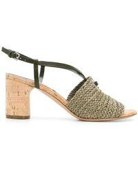Casadei - Woven Cork Sandals - Lyst