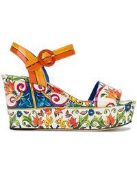 Dolce & Gabbana - Majolica Print Platform Sandals - Lyst